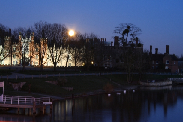 Hampton Court Palace in the moonlight, through Hector's french window